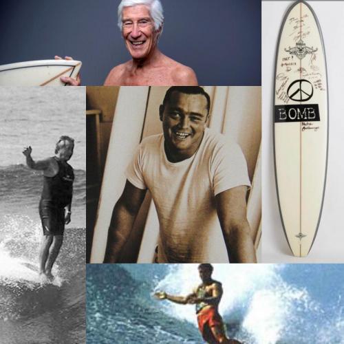 Madness Surfboard signed by Surf Legends (Greg Noll, Donald Takayama, Fred Hemmings, Joel De Rosnay, Jo Moraiz)
