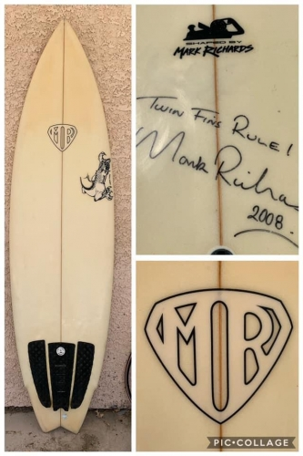 """""""Twin Fin Rule"""" 2000 signed by Mark Richards"""