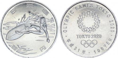Tokyo 2020 Olympics limited run coin Surfboard